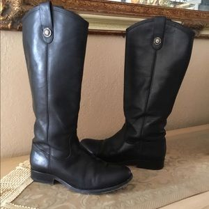 Frye Melissa button leather black boots sz.6.5 $95